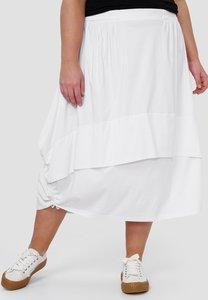 Ballonrok, wit, met ophaaltjes in de zijnaad, rekbare taille, in lengte verstelbare rok,