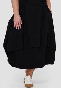 Ballonrok, zwart, met ophaaltjes in de zijnaad, rekbare taille, in lengte verstelbare rok,