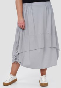Ballonrok, grijs met ophaaltjes in de zijnaad, rekbare taille, in lengte verstelbare rok,