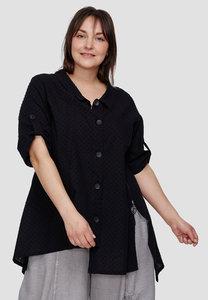 Blouse Kekoo zwart, korte mouwen, asymmetrische zoom, knoopband, ritssluiting aan de zijkant,
