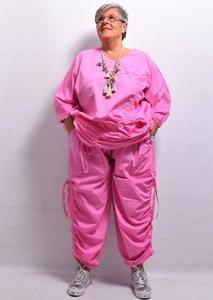 Broek, La Bass, roze, rekbare taille, zakken, lintjes aan de zijkant