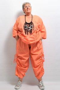 Broek, La Bass, oranje, rekbare taille, zakken, lintjes aan de zijkant
