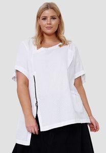 Blouse Kekoo wit, polka dot, asymmetrische zoom, korte mouwen en hals, ritssluiting en zakje op voorpand