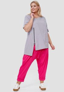 Blouse Kekoo grijs, polka dot, asymmetrische zoom, korte mouwen en hals, ritssluiting en zakje op voorpand