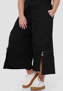 Kekoo  aparte wijde broek, zwart met  rits, rekbare taille, zakken, 7/8ste lengte, asymmetrisch