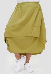 Ballonrok, mosgroen, met ophaaltjes in de zijnaad, rekbare taille, in lengte verstelbare rok,