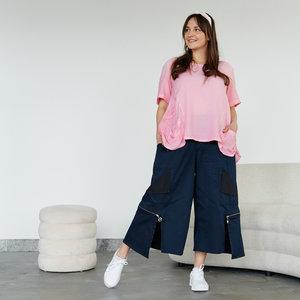 Kekoo  aparte wijde broek, donker blauw met  rits, rekbare taille, zakken, 7/8ste lengte, asymmetrisch