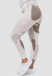 Legging, wit/taupe, Kekoo, bubbel look, brede elastische tailleband, mooie pasvorm